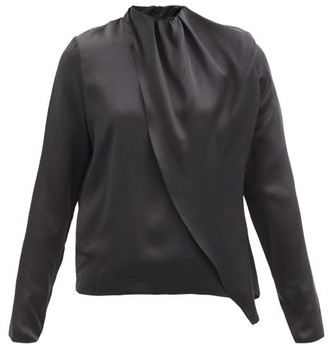 Dodo Bar Or Berna Draped Silk-satin Blouse - Black