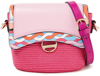 Emilio Pucci Paneled Leather And Faux Straw Shoulder Bag