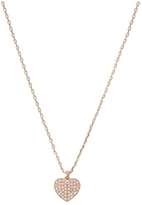 Kate Spade Heart To Heart Pave Mini Pendant Necklace (Clear/Rose Gold) Necklace