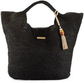 Heidi Klein Grace Bay Raffia Beach Bucket Bag, Black