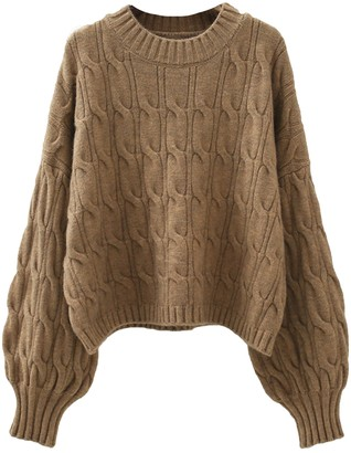 Goodnight Macaroon 'Christy' Crew Neck Cable Knit Sweater (5 Colors)