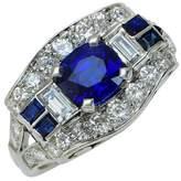 Tiffany & Co. Platinum Diamonds & Blue Sapphire Ring Size 5.25