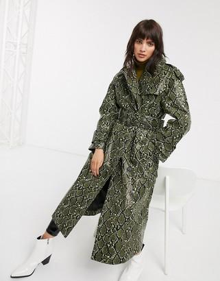 Asos Design DESIGN snake trench coat with statement belt-Green