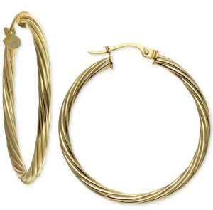 "Giani Bernini Medium Twisted Hoop Earrings in 18k Gold-Plated Sterling Silver, 1.2"", Created For Macy's"