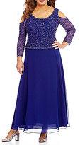 J Kara Plus Cold-Shoulder Beaded Gown