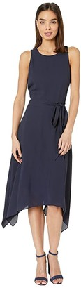 Karen Kane Handkerchief Hem Dress (Navy) Women's Clothing
