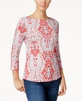 Charter Club Paisley-Print Boat-Neck Top, Only at Macy's