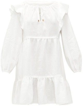 Ephemera - Ruffled Linen Mini Dress - Ivory