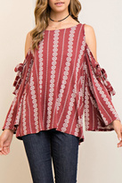 Entro Printed Open-Shoulder Top