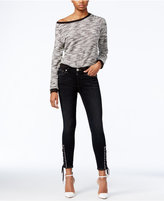 True Religion Lace-Up Black Wash Skinny Jeans