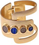 """Danielle Nicole Black County"""" Blue and Gray Stone Goldtone Negative Space Hinged Cuff Bracelet"""