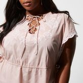 River Island Womens Plus light Pink embroidered lace up tunic