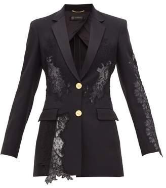 Versace Lace Insert Satin Backed Crepe Blazer - Womens - Black