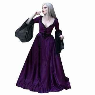 LOPILY Women's Vintage Gatsby Tunic Dress Deep V Neck Sexy Glamorous Swing Cocktail Party Dress Victorian Medieval Evening Gowns(Black L)