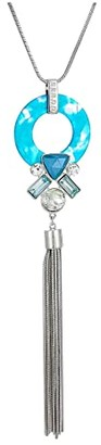 GUESS Long Pendant Y-Necklace with Circle and Tassel