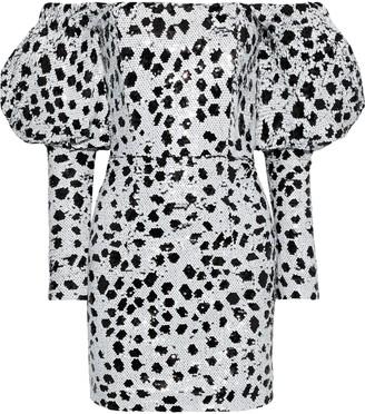 16Arlington Off-the-shoulder Polka-dot Sequined Mesh Mini Dress
