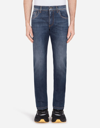 Dolce & Gabbana Stretch Slim-Fit Medium Blue Jeans With Embroidery