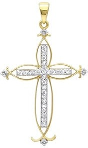 "Luxurman Vintage 14K Gold Necklace Diamond Cross Ladies Pendant 0.25ctw & 16"" Chain"