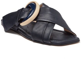 AGL Oversized Buckle Leather Sandal