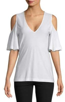 Derek Lam V-Neck Cold-Shoulder Top