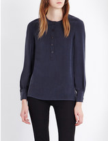 Joseph Button-neck silk-crepe blouse