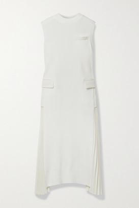 Sacai Cotton And Pleated Grain De Poudre Midi Dress - Ivory