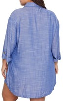 Dotti Plus Size Travel Muse Chambray Shirt Cover-Up