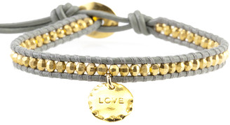Chan Luu Gold Bead on Coconut Leather Bracelet with Love Charm