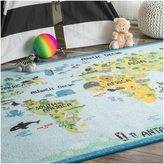 nuLoom Playtime World Continent Map Animal Educational Multi Kids Area Rug (3'3 x 5')