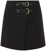 Isabel Marant Harmon Black Cotton Linen Mini Skirt with Buckles