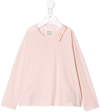Douuod Kids long-sleeved bow detail blouse