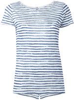 Majestic Filatures semi-sheer striped T-shirt - women - Linen/Flax - II