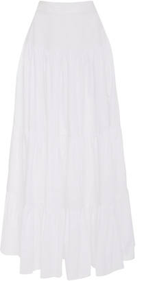 Bird & Knoll Elouise Tiered Cotton Poplin Maxi Skirt