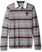 U.S. Polo Assn. Men's Long Sleeve Rugby Striped Crest Patch Polo Shirt
