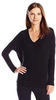Lark & Ro Women's 100% Cashmere Slouchy V-Neck Sweater