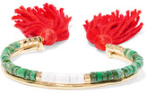 Aurelie Bidermann Sioux Gold-plated, Jasper, Bamboo And Cotton Cuff - Green