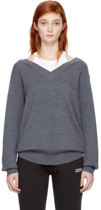 Alexander Wang Grey and Off-White Bi-Layer Off-the-Shoulder Pullover