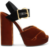 Prada Two-tone Velvet Sandals - Tan