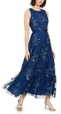 Eliza J Petite Sequin Floral-Print Belted Gown