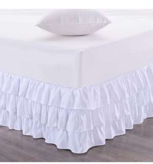 Sweet Home Collection Waterfall 3-Layer Ruffled King Bedskirt Bedding