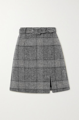 ALEXACHUNG Whatever Belted Prince Of Wales Checked Tweed Mini Skirt - Gray