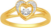 JCPenney FINE JEWELRY Love in Motion Diamond-Accent 10K Yellow Gold Heart Ring