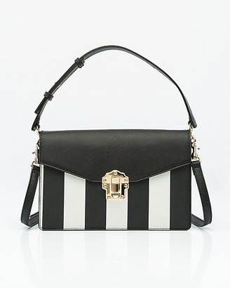 Le Château Stripe Saffiano Faux Leather Bag