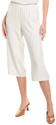 Eileen Fisher Petite Straight Crop Silk Pant