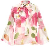 La DoubleJ Carmen Floral-print Silk-chiffon Blouse - Womens - White Print