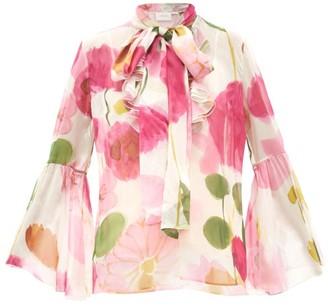 La DoubleJ Carmen Floral-print Silk-chiffon Blouse - White Print