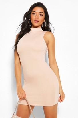 boohoo High Neck Sleeveless Mini Dress