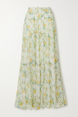 Philosophy di Lorenzo Serafini Flocked Floral-print Georgette Maxi Skirt - White