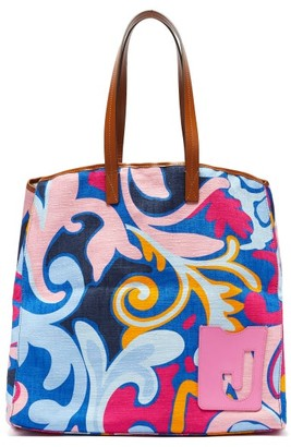 La DoubleJ Big Mama Leaves-print Canvas Tote Bag - Blue Multi