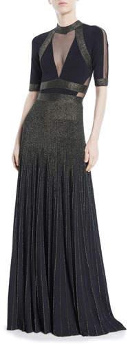 Elie Saab Short-Sleeve Paneled-Bodice Two-Tone Long Evening Gown